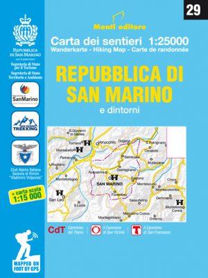 Carta dei Sentieri della Repubblica di San Marino cammino del titano trekking passeggiate camminate escursioni escursionismo escursionistico cartina
