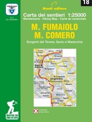18 - Carta dei sentieridel Monte Fumaiolo e Monte Comero, Verghereto, Balze, Casteldelci, Badia Tedalda per escursioni a piedi e in mountain bike